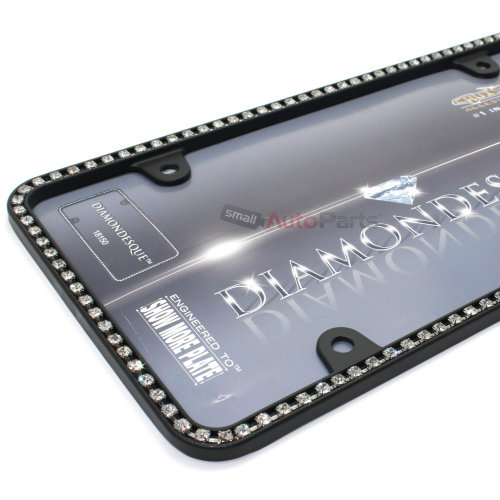 Clear diamond bling crystals black license plate tag frame for Does walmart sell fishing license
