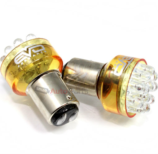2 x Amber Yellow 1157 LED Bulbs