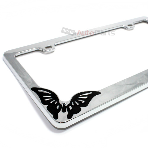 Chrome Metal Butterfly Custom License Plate Tag Frame For