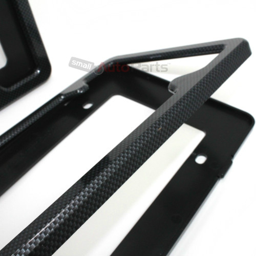 2 Black Carbon Fiber Custom License Plate Tag Snap Fit