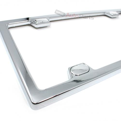 Chrome Metal Custom License Plate Tag Frame & Screw Caps