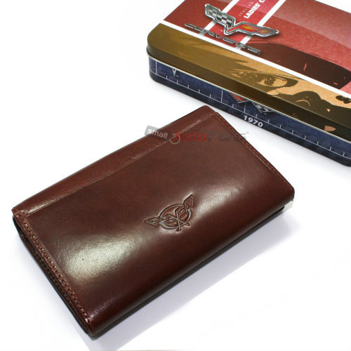 Chevy Corvette C5 Brown Ladies Women Italian Genuine Leather Clutch Wallet Purse