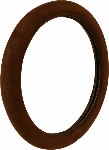 Brown Ultra Soft Plush Cloth Stitch Steering Wheel Cover