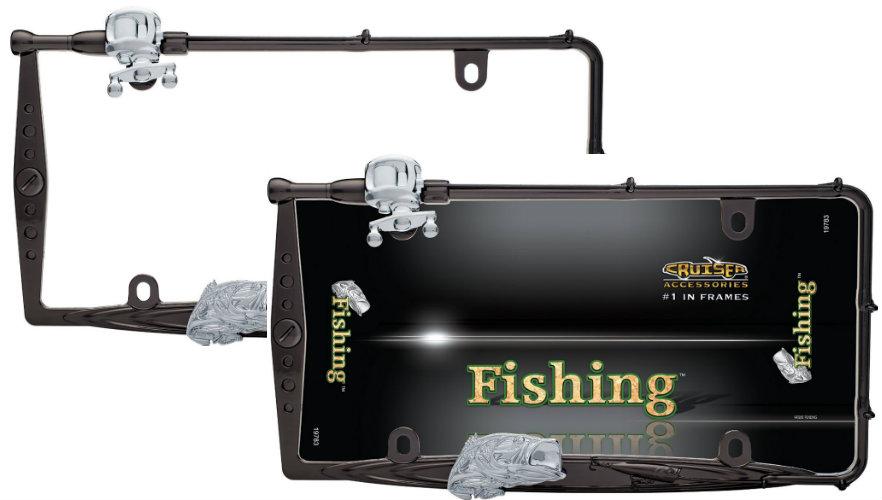 2 premium custom fishing black fish rod license plate tag for Fishing license plate